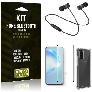 Kit Fone Bluetooth Hrebos Galaxy S20 Plus + Capa Anti + Película Vidro - Armyshield
