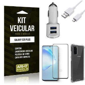 Kit Carregador Veicular Tipo C Galaxy S20 Plus + Película Vidro + Capa Anti - Armyshield