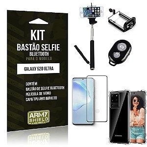 Bastão de Selfie Bluetooth Galaxy S20 Ultra+ Capinha Anti Impacto +Película Vidro 3D - Armyshield