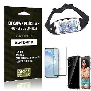 Pochete Galaxy S20 Ultra + Capinha Anti Impacto + Película de Vidro 3D - Armyshield