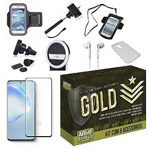 Kit Gold  Galaxy S20 Ultra com 8 Acessórios - Armyshield