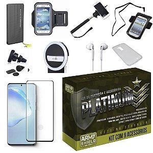 Kit Platinum Galaxy S20 Ultra com 9 Acessórios e PowerBank Tipo C - Armyshield