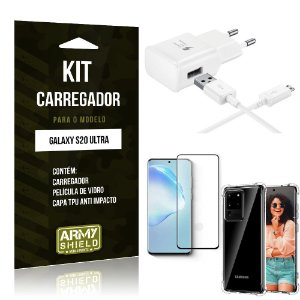 Kit Carregador Galaxy S20 Ultra Tipo C + Capa Antishock + Película de Vidro 3D - ArmyShield