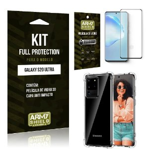 Combo Full Protection Galaxy S20 Ultra Película de Vidro 3D + Capa Anti Impacto 3D - Armyshield