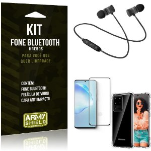 Kit Fone Bluetooth Hrebos Galaxy S20 Ultra + Capa Anti + Película Vidro - Armyshield