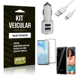 Kit Carregador Veicular Tipo C Galaxy S20 Ultra + Película Vidro + Capa Anti - Armyshield
