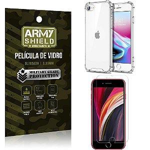 Kit Anti Impacto iPhone SE 2020 Capinha Anti Impacto + Película de Vidro - Armyshield