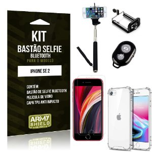 Kit Bastão de Selfie Bluetooth iPhone SE 2020 Bastão + Capinha Anti Impacto +Película Vidro - Armyshield