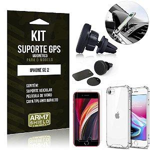 Kit Suporte Veicular Magnético iPhone SE 2020 Suporte +Capinha Anti Impacto +Película Vidro - Armyshield