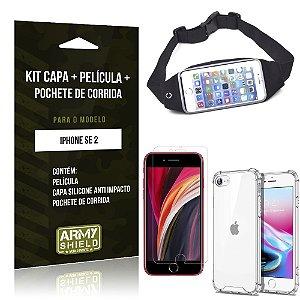 Kit Pochete iPhone SE 2020 Pochete + Capinha Anti Impacto + Película de Vidro - Armyshield
