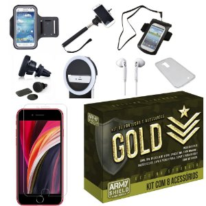 Kit Gold iPhone SE 2020 com 8 Acessórios - Armyshield