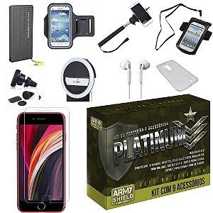 Kit Platinum iPhone SE 2020 com 9 Acessórios - Armyshield