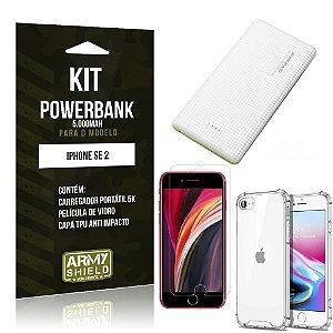 Kit Carregador Portátil 5K iPhone SE 2020 + Capa Anti Impacto +Película Vidro - Armyshield