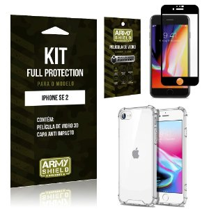 Kit Full Protection iPhone SE 2020 Película de Vidro 3D + Capa Anti Impacto - Armyshield