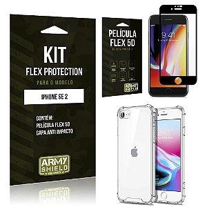 Kit Flex Protection iPhone SE 2020 Capa Anti Impacto + Película Flex 5D - Armyshield