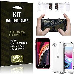 Kit Gatilho Gamer iPhone SE 2020 Gatilho + Capa Anti Impacto + Película Vidro - Armyshield