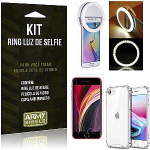 Kit Flash Ring iPhone SE 2020 Flash Ring + Capa Anti Impacto + Película de Vidro - Armyshield