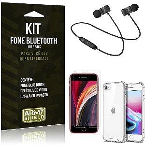 Kit Fone Bluetooth Hrebos iPhone SE 2020 + Capa Anti + Película Vidro - Armyshield