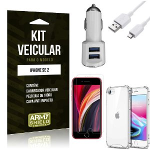 Kit Carregador Veicular iPhone SE 2020 + Película Vidro + Capa Anti - Armyshield