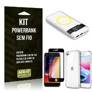 Kit Powerbank Sem Fio 10.000mAh iPhone SE 2020 + Capa Anti Impacto + Película Vidro 3D - Armyshield