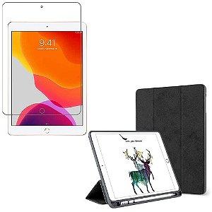Kit Capa Smart Cover iPad 10.2 7a Geração Suporte Pencil + Película de Vidro - Armyshield