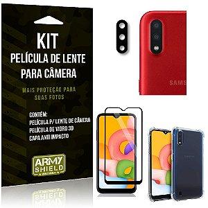 Kit Película de Câmera Galaxy A01 + Película 3D + Capa Anti Impacto - Armyshield