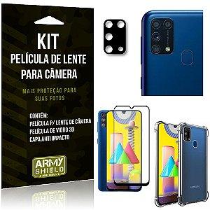 Kit Película de Câmera Galaxy M31 + Película 3D + Capa Anti Impacto - Armyshield
