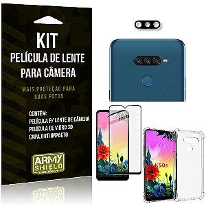 Kit Película de Câmera LG K50S + Película 3D + Capa Anti Impacto - Armyshield