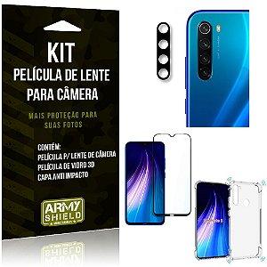 Kit Película de Câmera Redmi Note 8 + Película 3D + Capa Anti Impacto - Armyshield