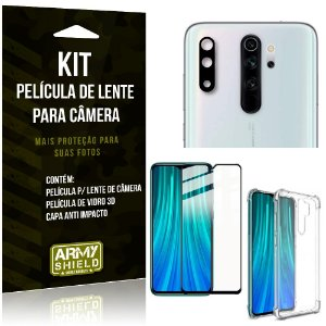 Kit Película de Câmera Redmi Note 8 Pro + Película 3D + Capa Anti Impacto - Armyshield