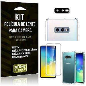 Kit Película de Câmera Galaxy S10e + Película 3D + Capa Anti Impacto - Armyshield