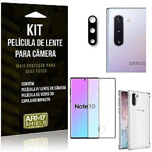 Kit Película de Câmera Galaxy Note 10 + Película 3D + Capa Anti Impacto - Armyshield