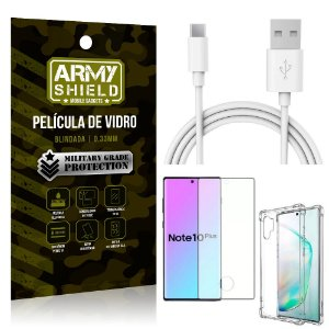 Kit Cabo Usb 2m Tipo C Galaxy Note 10 Plus + Capa Anti Impacto + Película Vidro 3D - Arymshield