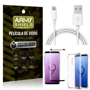 Kit Cabo Usb 2m Tipo C Galaxy S9 + Capa Anti Impacto + Película Vidro 3D - Arymshield