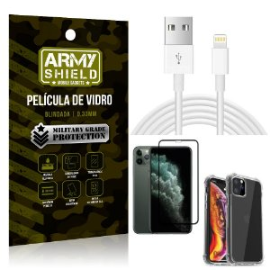 Kit Cabo Usb 2m Lightning iPhone 11 Pro 5.8 + Capa Anti Impacto + Película Vidro 3D - Arymshield
