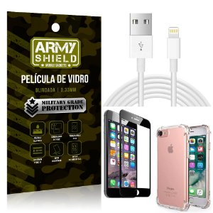 Kit Cabo Usb 2m Lightning iPhone 6 - 6S + Capa Anti Impacto + Película Vidro 3D - Arymshield