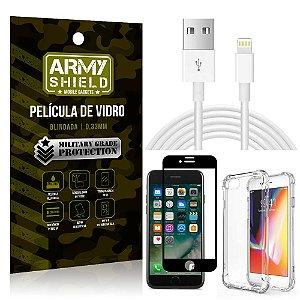 Kit Cabo Usb 2m Lightning iPhone 7 + Capa Anti Impacto + Película Vidro 3D - Arymshield