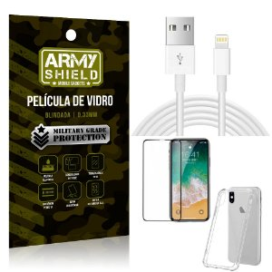 Kit Cabo Usb 2m Lightning iPhone X + Capa Anti Impacto + Película Vidro 3D - Arymshield