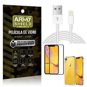 Kit Cabo Usb 2m Lightning iPhone XR 6.1 + Capa Anti Impacto + Película Vidro 3D - Arymshield