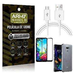 Kit Cabo Usb 2M LG K40s + Capa Anti Impacto + Película Vidro 3D - Arymshield