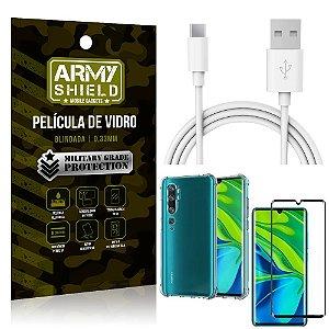 Kit Cabo Usb 2m Tipo C Mi Note 10 - Note 10 Pro + Capa Anti Impacto + Película Vidro 3D - Arymshield