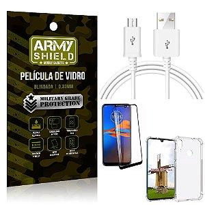 Kit Cabo Usb 2M Moto E6 Plus + Capa Anti Impacto + Película Vidro 3D - Arymshield