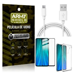 Kit Cabo Usb 2m Tipo C Redmi Note 8 Pro + Capa Anti Impacto + Película Vidro 3D - Arymshield