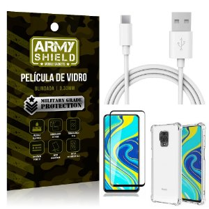 Kit Cabo Usb 2m Tipo C Redmi Note 9S + Capa Anti Impacto + Película Vidro 3D - Arymshield