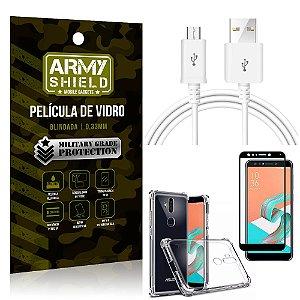Kit Cabo Usb 2M Zenfone 5 Selfie ZC600KL + Capa Anti Impacto + Película Vidro 3D - Arymshield