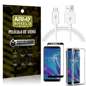 Kit Cabo Usb 2M Zenfone Max Pro M1 ZB602KL + Capa Anti Impacto + Película Vidro 3D - Arymshield
