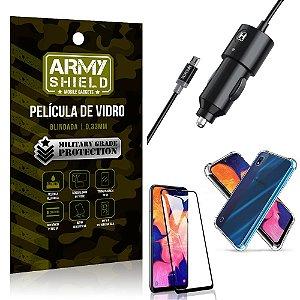 Carregador Veicular Turbo 4.0 Galaxy A10 + Capa Anti Impacto + Película Vidro 3D
