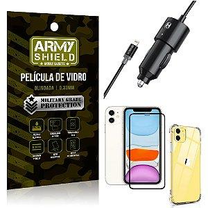 Carregador Veicular Turbo 4.0 Lightning iPhone 11 6.1 + Capa Anti Impacto + Película Vidro 3D