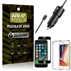 Carregador Veicular Turbo 4.0 Lightning iPhone 7 Plus + Capa Anti Impacto + Película Vidro 3D