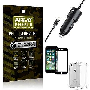 Carregador Veicular Turbo 4.0 Lightning iPhone 8 + Capa Anti Impacto + Película Vidro 3D